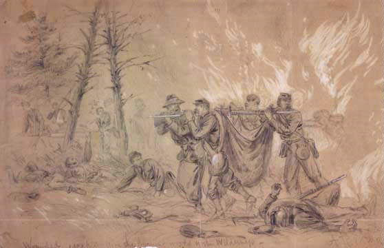 Alfred Waud: 'Wounded Escaping from the Burning Woods in the Wilderness,' May 6, 1864
