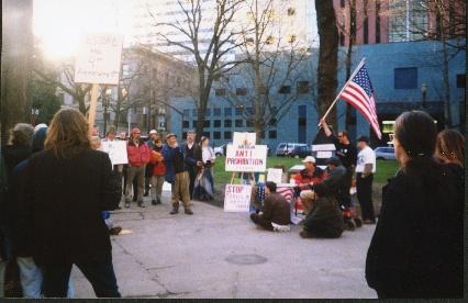 MTF protest, spring 1998, credit below