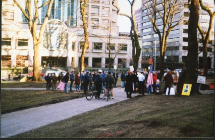 MTF protest, spring 1998, credit below